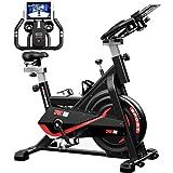 Bicicleta Estaticas,Bicicleta Spin,Bicicleta Estatica Con Monitor De Frecuencia Cardíaca / Transmisión Por Correa / Volante / Asiento Ajustable Para Uso En El Hogar y El Gimnasio (Mejora de negro)